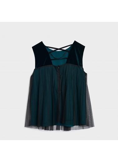 Yargıcı Kadın Pliseli Kolsuz Bluz 0KKGM6061X034 Petrol